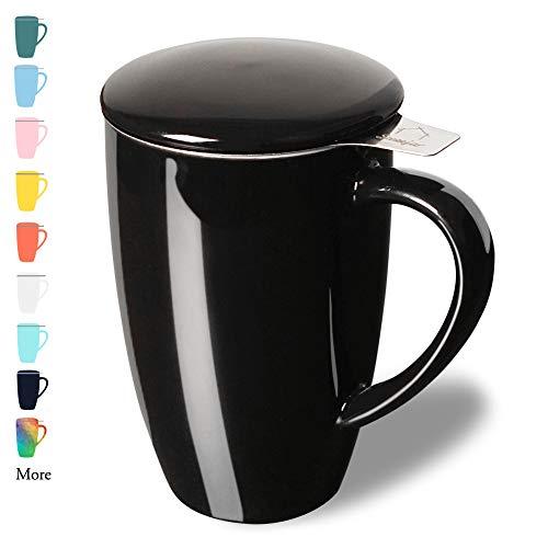 Sweejar Porcelain Tea Mug with Infuser and Lid,Teaware with Filter, Loose Leaf Tea Cup Steeper Maker, 16 OZ for Tea/Coffee/Milk/Women/Office/Home/Gift (Black)