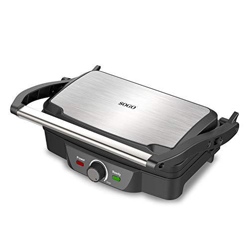 SOGO SS-7127 Parilla electrica, sandwichera y panini grill, con acabado Antiadherente de piedra y apertura 180º, con regulador de temperatura, 1600 Vatios de potencia Color gris metálico y negro