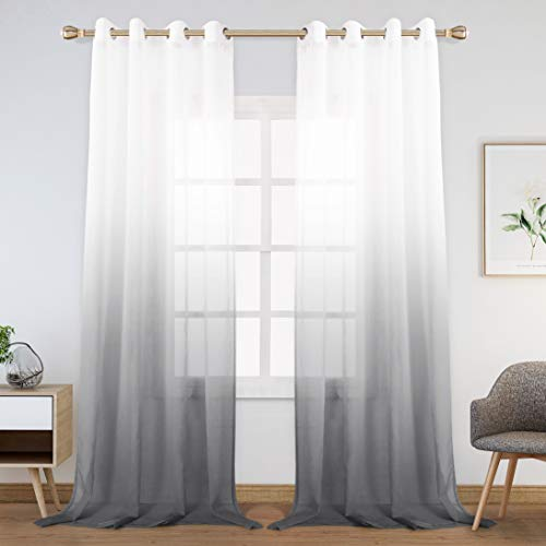 WONTEX Faux Linen Gradient Ombre Sheer Curtains for Bedroom/Living Room, 55 x 102 inch, Dark Grey – Light Filtering and Privacy, Semi Voile Grommet Curtain Panels, Set of 2