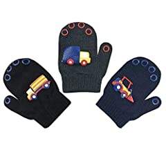 Trucks - Black//Navy//Charcoal, 2-4 Years NIce Caps Toddler Boys and Infants Magic Stretch Mittens 3 Pairs Assortment
