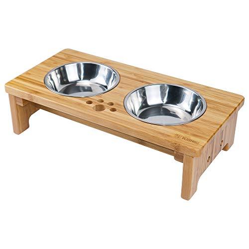 【天然素材】YOSHIKI良木工房 愛犬・愛猫の食生活を快適に〜 竹製 ペット用食器台 犬用 猫用 食器台 餌台 犬猫えさ入れ ごはん皿 水入れ フードボウルスタンドセット YK-PF1