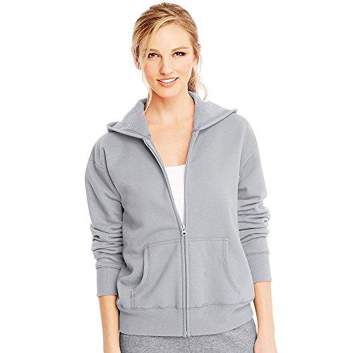 Hanes Women's EcoSmart Full-Zip Hoodie Sweatshirt, Light Steel, Large