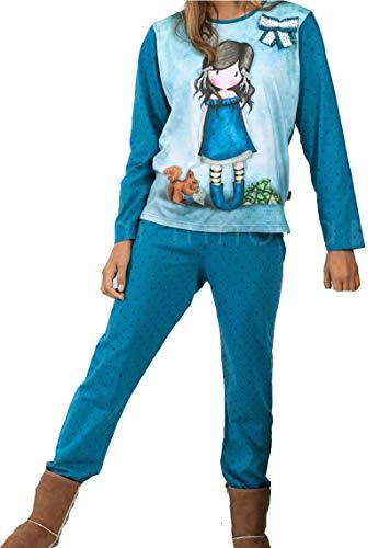 Santoro Gorjuss Pijama de 2 piezas de camiseta + pantalón de algodón Otoño Primavera Verano Original y Autentico, ideal para niña/mujer en bonita caja de regalo (54407, L)