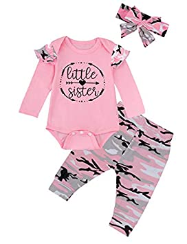 Kewlent Baby Girls Little Sister 3PCS Outfit Short Sleeve Bodysuit Camouflage Pants Set and Headband