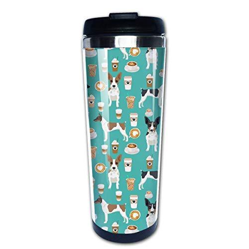 Rat Terrier Café Perro Razas de mascotas Regalos Perros Tazas de café Botella de agua de acero inoxidable Taza Taza de viaje Vaso de café para mujeres/hombres/niños /
