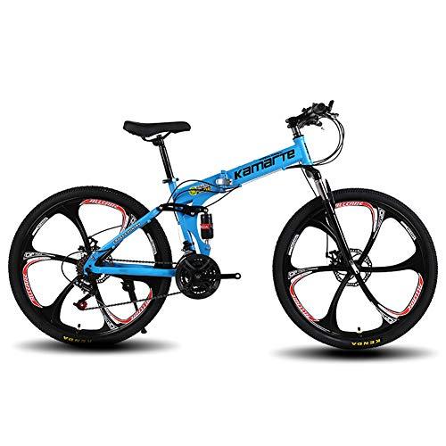 FJW Mountain Bike Unisex Telaio Pieghevole, Ruote a 6 Razze da 26 Pollici MTB Bike, Bici da Uomo Dual Suspension 21/24/27 velocità con i Freni a Disco,Blue,27Speed