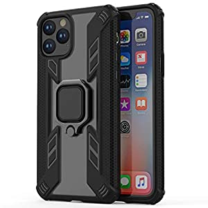 """Kit Me Out World Ring Series Case Designed for iPhone 11 Pro Case 5.8"""", Scratch-Proof Transparent Hard (PC) Back and Black TPU Bumper with 360 Ring Kickstand, Shockproof Case Cover (Ultra Clear)"""