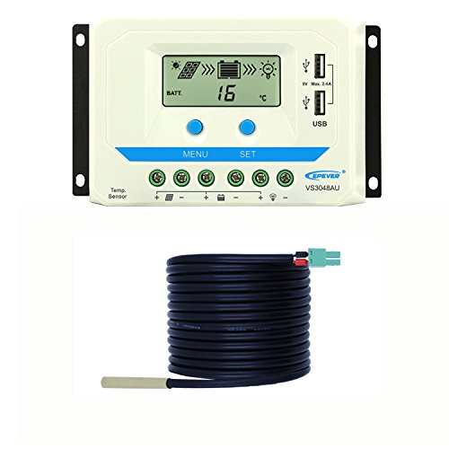 EPEVER 30A PWM Solar Charge Controller 12 24 36 48V Dual USB Max 96V Input Solar Charge with Temperature Sensor Weatherproof LCD Display