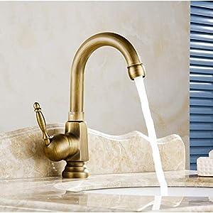 Grifos de lavabo Grifería Vintage Acabado Antiguo Grifos De Latón Grifería Monomando Lavabo Grifería Torneiras Frías Y Calientes