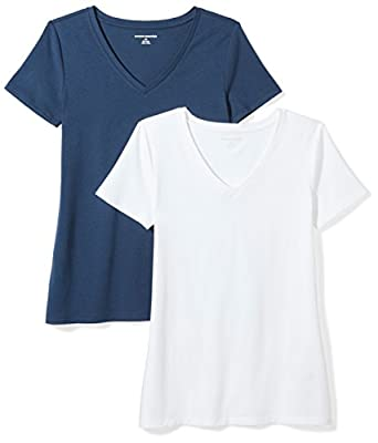 Amazon Essentials Women's 2-Pack Classic-Fit Short-Sleeve V-Neck T-Shirt, Navy/White, Large