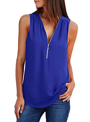 FIYOTE Chemisier Femme Blouse sans Manches Tunique Couleur Unie Chemise Femme Chic d'été Shirts en Mousseline Chemisier Col en V Débardeur Casual Bleu M(EU40-42)