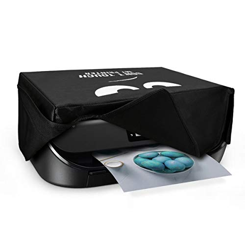 kwmobile Funda Compatible con HP OfficeJet 5230/5232 - Cubierta de Impresora Blanco/Negro Don't Touch my Printer