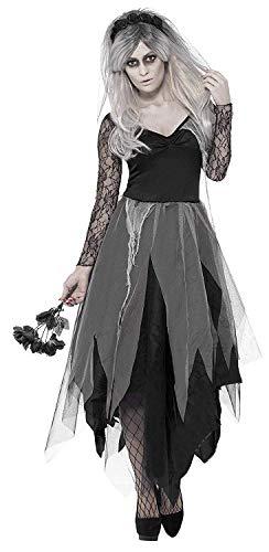 Smiffys Damen Friedhofsbraut Kostüm, Kleid und Rosenschleier, Größe: L, 43792