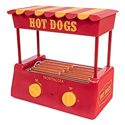 top 10 hot dog cookers Nostalgia HDR8RY Hot Dog Warmer 8 Standard size, 4 feet long, roll capacity 6, stainless steel …