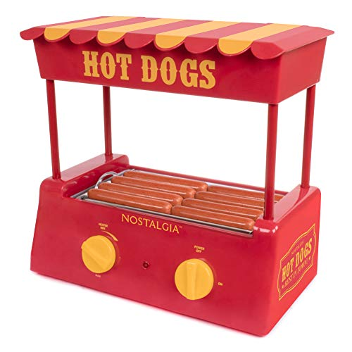 Check Out This Nostalgia HDR8RY Hot Dog Warmer 8 Regular Sized, 4 Foot Long and 6 Bun Capacity, Stainless Steel Rollers, Perfect For Breakfast Sausages, Brats, Taquitos, Egg Rolls, Red/Yellow