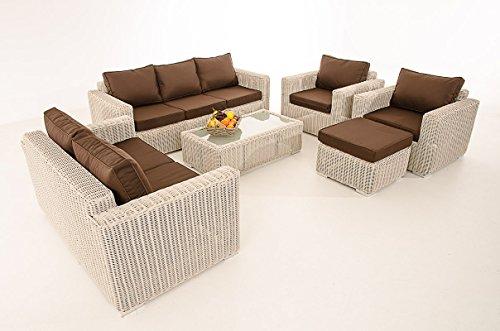 Mendler 3-2-1-1 Sofa-Garnitur CP050 Lounge-Set Gartengarnitur Poly-Rattan ~ Kissen terrabraun, perlweiß