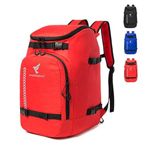 XIANFENGNIAO Ski Boot Bag, Lightweight Ski Boot Travel Backpack for Ski & Snowboard Boots, Helmets, Goggles, Gloves & Outerwear for Women, Men and Kid (Red)
