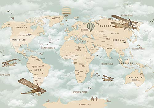wandmotiv24 Fototapete Weltkarte XL 350 x 245 cm - 7 Teile Fototapeten, Wandbild, Motivtapeten, Vlies-Tapeten Flugzeuge, Himmel, Ballons M1845