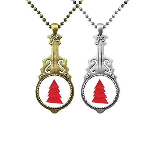 Abstract mas Tree Origami Pattern Music Guitar Pendant Jewelry Necklace Pendant Couple