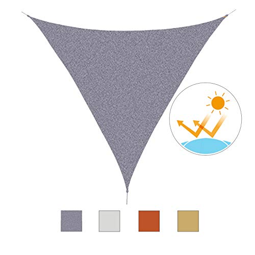 Outsunny Toldo Vela Triangular 3x3x3m Vela de Sombra para Terraza Jardín Camping Resistente al Agua Protección UV Poliéster Color Gris