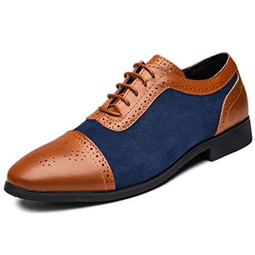 Skxinn Herrenschuh Herren klassischer Business-Halbschuh aus Kunstleder mit Gummisohle Freizeit Schuhe Halbschuhe Party Hochzeit übergrößen Gr 38-48(Blau,45 EU)