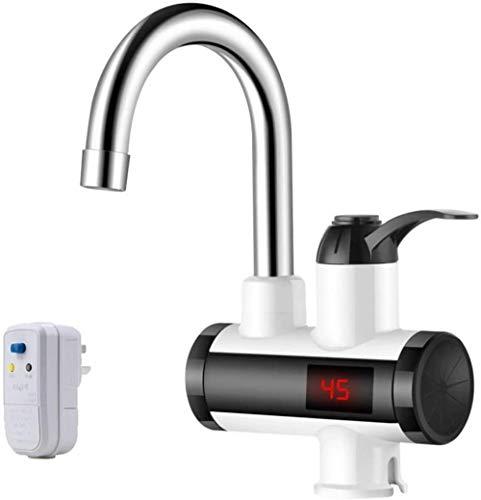 YYQLLXH Calentador eléctrico instantáneo de 220 V, pantalla digital LED,agua fría y caliente Grifo mezclador para fregadero giratorio de 360 ° Cocina de acero inoxidable de cocina Grifo de baño