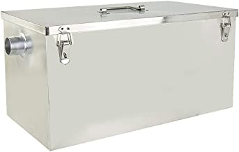 XuSha Commercial Grease Trap 25lbs 13GPM Interceptor Stainless Steel for Restaurant Kitchen, Side Inlet