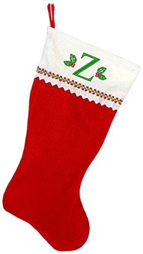 Monogrammed Me Embroidered Initial Christmas Stocking, Red and White Felt, Initial Z