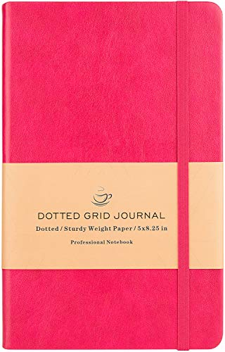 Dotted Grid Notebook/Journal - Dot Grid Hard Cover Notebook, Premium Thick Paper with Fine Inner Pocket, Rosy Smooth Faux Leather, 5''×8.25''