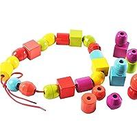 Lewo Perline in Legno di Grandi Dimensioni per Bambini Giocattoli educativi Montessori 30 Pezzi con 2 Corde #4