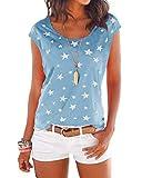 YOINS Camiseta para Mujer Manga Larga Elegante Blusa Suelta de Cuello Redondo Camisa con Estampado Camisetas Básica Informal T-Shirt Azul Claro XXL
