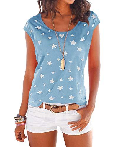 YOINS T-Shirt Damen Shirt Oberteile Sexy Oberteil für Damen Tops Langarm Sommer Herbst Rundhals mit Sterne (S, hellblau)