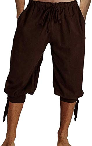 Mens Pirate Shorts Halloween Medieval Renaissance Banded Pants Viking Knicker Colonial Linen Costume
