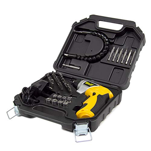 Wolf 3.6V Cordless Screwdriver Kit Set Carry Case with 1.3Ah Li-Ion Battery 1/4' Hex Chuck