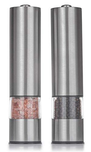 Tebery 2 unidades Juego de molinillos de sal y pimienta eléctricos acero inoxidable cepillado, funciona con pilas, placas de molienda ajustables, 22,5 x 5,2 cm, plateado