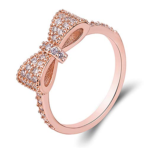 XIALV Lovely Bow Ring for Women Rose Gold with Clear Cubic Zirconia Pave Bridal Statement Anniversary Engagement Wedding Promise Romantic Band Ring (US Code 9)
