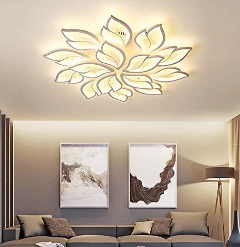BABYCOW Candelabro LED Moderno con Control Remoto Lámpara de acrílico de Techo Blanco infinitamente Regulable para Sala de Estar Cocina Dormitorio Luminarias Colgantes Iluminación 15 Luces