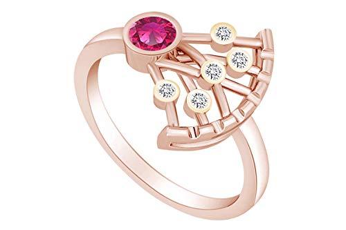 AFFY - Anillo de Oro Rosa Macizo de 14 Quilates con Diamante Natural Triangular y rubí de imitación Blanco