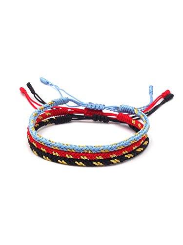 BENAVA Tibetisches Armband Glücksarmband – Freundschaftsarmband 3er Set Geflochten