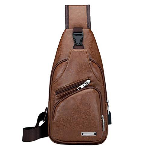 PU Leder Sling Brusttasche Crossbody Pack für Herren Damen Reisen Outdoor Schulter Messenger Pack Rucksack Daypack Braun