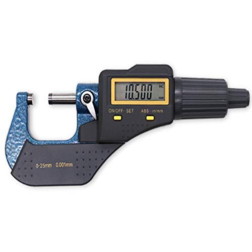 Micrómetro Digital,Micrómetros Exteriores de 0-25 Mm Con Pantalla Digital LED,Herramientas de Medición de Espesor en Pulgadas/Métrico