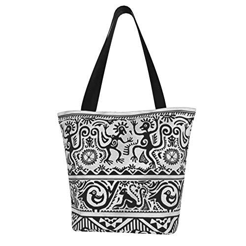 Bolso de playa lindo del arte primitivo africano - Bolso de compras reutilizable para las mujeres Grandes regalos para las mujeres