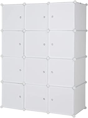 12 Cube Organizer Stackable Plastic Cube Storage Shelves Design Multifunctional Modular Closet Cabinet with Hanging Rod White