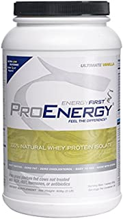 ProEnergy Vanilla Whey Protein Isolate Powder   100% Natural   Grass Fed Protein   Non-GMO   Undenatured   Low Carb   Meal Replacement, for Pre/Post Workout, 2 lb. Jar by EnergyFirst