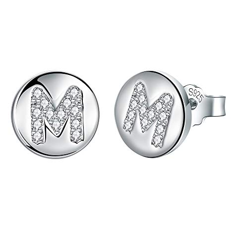 J.Endéar Initial Letter M Stud Earrings for Women Girls, 925 Sterling Silver Cubic Zirconia Earrings, Small Disc Alphabet Studs Customize Christmas Gifts