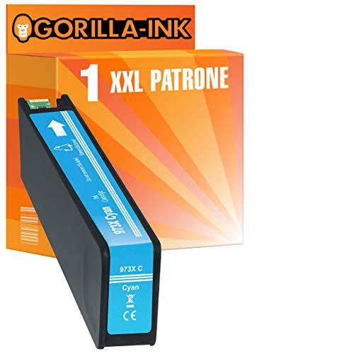 Gorilla-Ink 1 cartucho Mega XXL con chip e indicador de nivel de tinta para HP-973X PageWide Pro 452DN 452DW 452DWT 477DN 477DW 477DWT 552DW 577DW 577Z | cian 110 ml