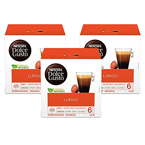 Nescafe Dolce Gusto, Caffe Lungo, 16 Count (Pack of 3)