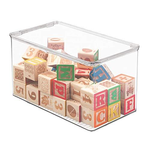 mDesign Organizador de juguetes con tapa -  Cajas de almacenaje para guardar juguetes bajo la cama o en las estanterías de la habitación infantil # Juguetero de plástico transparente