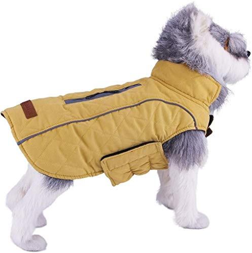 ThinkPet Warm Reversible Dog Coat - Thick Padded Comfortable Winter Dog Jacket, Reflective Safey Dog Vest M Yellow