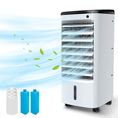 BREEZEWELL 3-IN-1 Evaporative Air Cooler, Portable Fan/Humidifier/Cooling with Ice Box, 12H Timer&Remote Control, Ultra-quiet & 65° Oscillating Personal Evaporative Cooler for Whole Room Home & Office